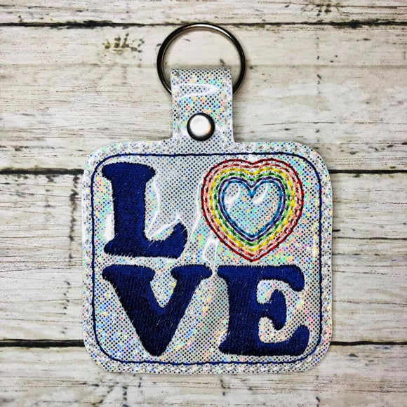 ITH Digital Embroidery Pattern for Rainbow Heart LOVE Snap Tab / Key Chain, 4x4 hoop