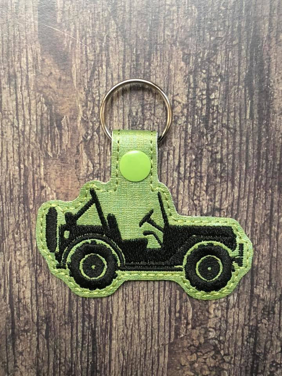 ITH Digital Embroidery Pattern for JEEP Side SilhouetteSnap Tab / Key Chain, 4x4 hoop