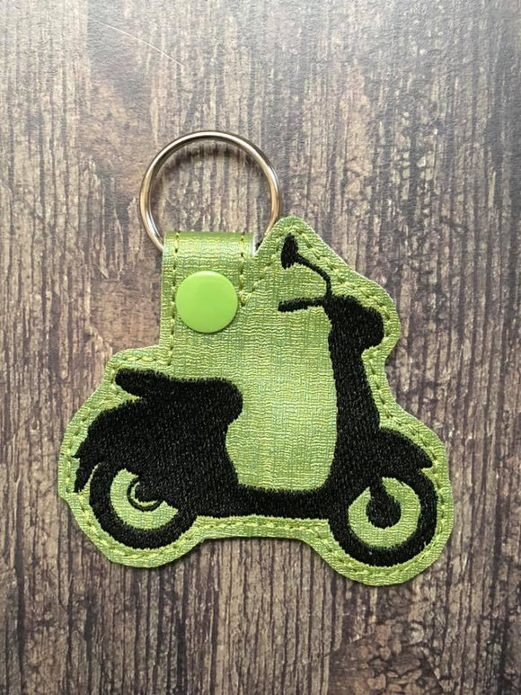 ITH Digital Embroidery Pattern for Scooter I Silhouette Snap Tab / Key Chain, 4x4 hoop