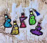 ITH Digital Embroidery Pattern for Yellow NERDS Dude Fill Stitch Snap Tab / Key Chain, 4x4 hoop