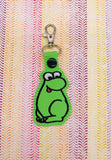 ITH Digital Embroidery Pattern for Green NERDS Dude Outline Snap Tab / Key Chain, 4x4 hoop
