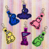 ITH Digital Embroidery Pattern for Purple NERDS Dude Outline Snap Tab / Key Chain, 4x4 hoop