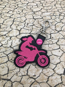ITH Digital Embroidery Pattern for Motocross Girl, MX Girl Snap Tab / Key Chain, 4x4 hoop