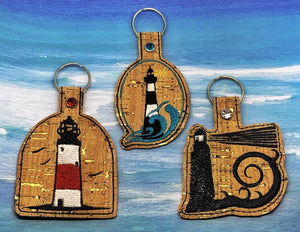 ITH Digital Embroidery Pattern for Light Houses Set of 4 Snap Tab / Key Chain, 4x4 hoop