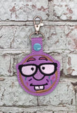 ITH Digital Embroidery Pattern for Donut Nerd Dude with Glasses Snap Tab / Key Chain, 4x4 hoop