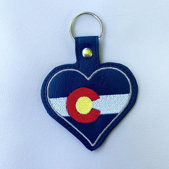 ITH Digital Embroidery Pattern for Colorado Heart Snap Tab / Key Chain, 4x4 hoop