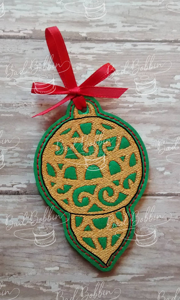 ITH Digital Embroidery Pattern for Filigree Ornament I, 4X4 Hoop