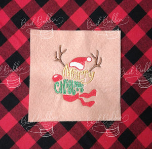 ITH Digital Embroidery Pattern for Merry Christmas Reindeer Stand Alone, 4X4 Hoop