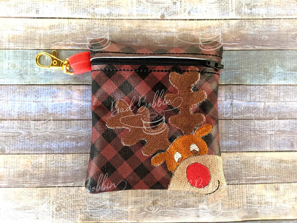 ITH Digital Embroidery Pattern for Corner Reindeer Cash/Card Tall 5X4.5 Zipper Pouch, 5X7 Hoop