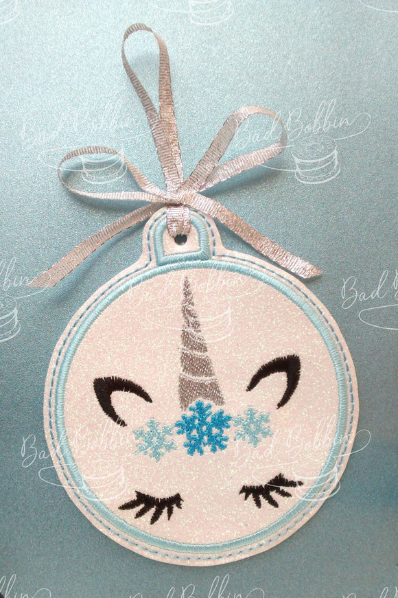 ITH Digital Embroidery Pattern for Snowflake Unicorn Ornament, 4X4 Hoop
