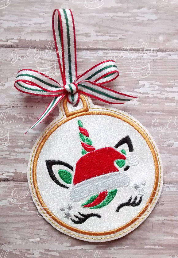 ITH Digital Embroidery Pattern for Santa Unicorn Ornament, 4X4 Hoop