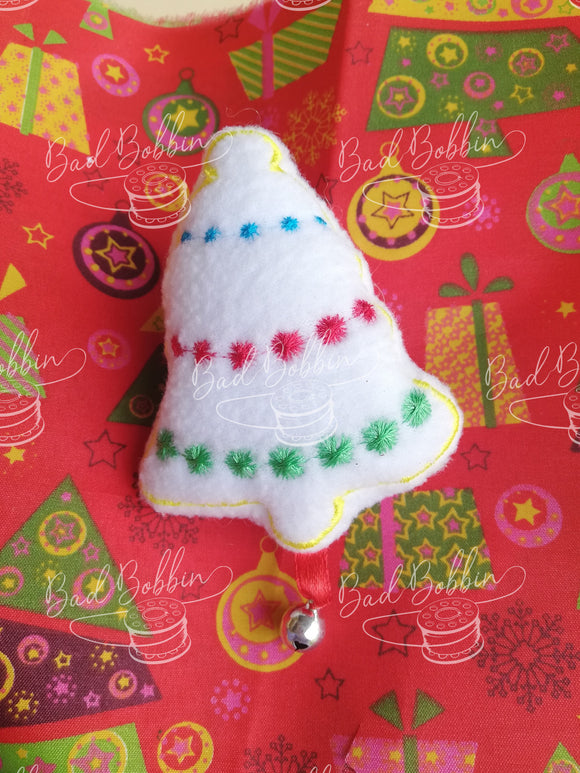 ITH Digital Embroidery Pattern for Cat Toy Christmas Bell 2 Styles, 4X4 Hoop