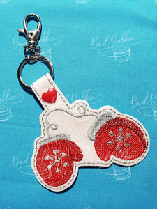 ITH Digital Embroidery Pattern for Christmas Mittens Snap Tab / Key Chain, 4X4 Hoop