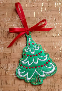 ITH Digital Embroidery Pattern for Snow Cap Tree Ornament, 4X4 Hoop