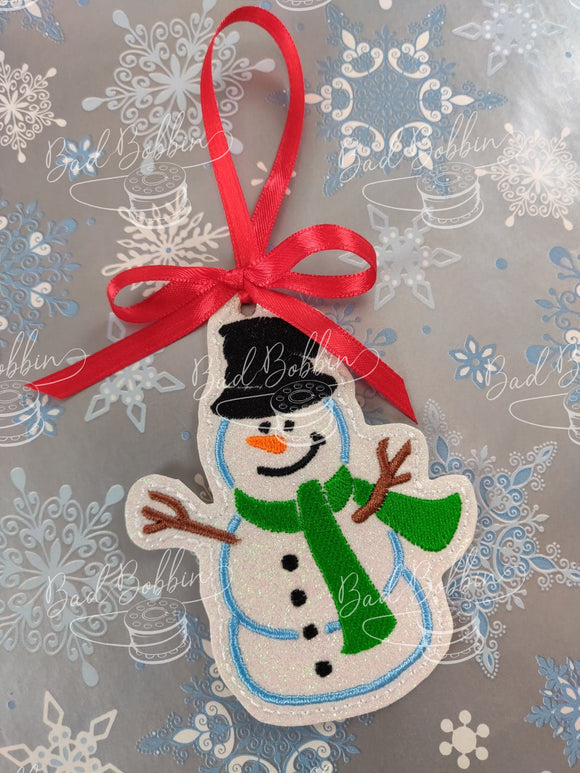 ITH Digital Embroidery Pattern for Snowman III Ornament, 4X4 Hoop