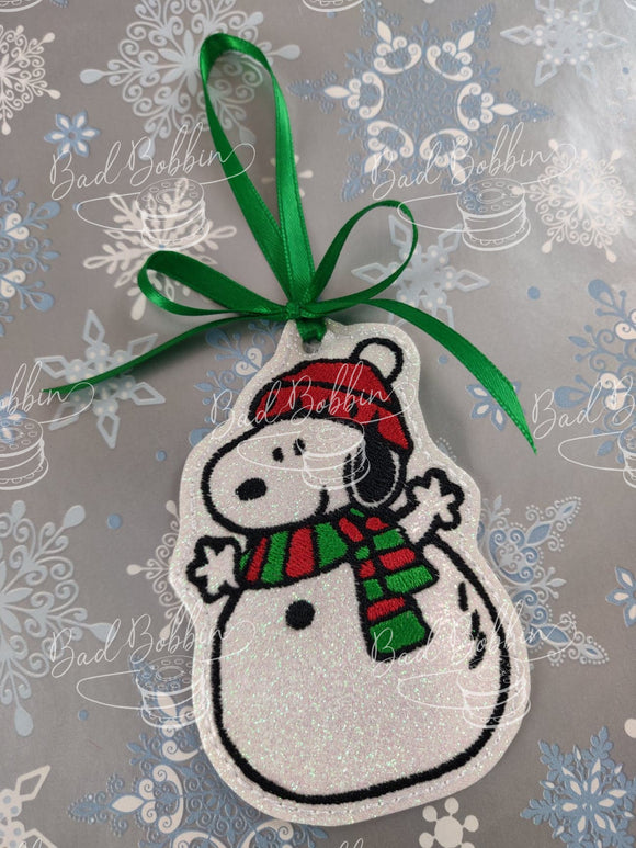 ITH Digital Embroidery Pattern for Snowman Snoops Ornament, 4X4 Hoop