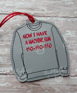 ITH Digital Embroidery Pattern for Die Hard Sweatshirt Ornament, 4X4 Hoop