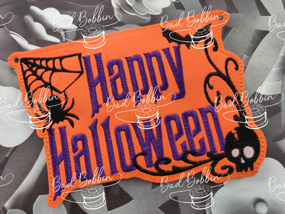 ITH DIgital Embroidery Pattern for Happy Halloween Sign , 5X7 Hoop