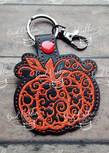 ITH Digital Embroidery Pattern for Mick Filigree Pumpkin Snap Tab / Key Chain, 4X4 Hoop