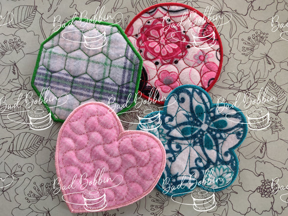 ITH Digtial Embroidery Pattern for Make-Up Wipes Set of 4, 4X4 Hoop
