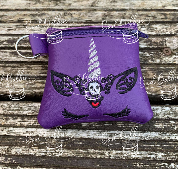ITH Digital Embroidery Pattern for Halloween Unicorn Skull 4X4 Zipper Pouch, 4X4 Hoop