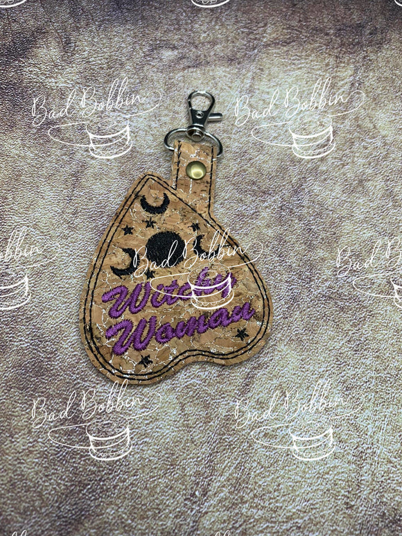 ITH Digital Embroidery Pattern for Ouija Witchy Woman Snap Tab / Key Chain, 4X4 Hoop