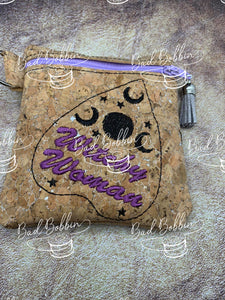 ITH DIgital Embroidery Pattern For Ouija Witchy Woman Cash-Card Tall 4.5 X5 Zipper Pouch, 5X7 Hoop