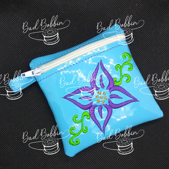 ITH Digtal Embroidery Patern for Lily Simple Zipper Pouch, 4X4 Hoop
