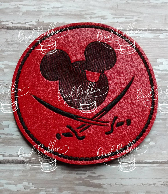 ITH Digital Embroidery Pattern for Pirate Mr Mouse Coaster, 4X4 Hoop