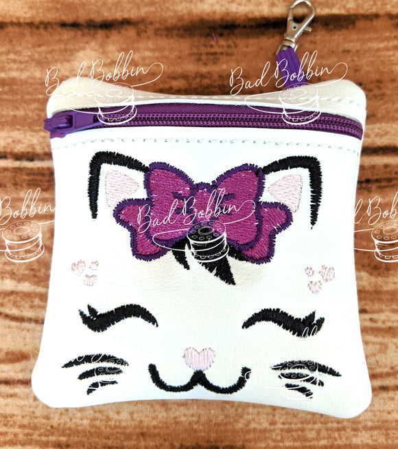 ITH Digital Embroidery Pattern for Pretty Kitty Face 4X4 Zipper Pouch, 4X4 Hoop