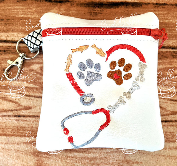 ITH Digital Embroidery Pattern for Animal Stethoscope Cash/Card Tall 4.5X5 Zipper Pouch, 5X7 Hoop