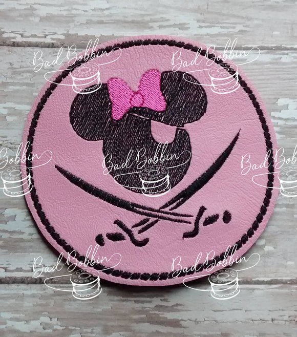 ITH Digital Embroidery Pattern for Pirate Ms Mouse Coaster, 4X4 Hoop