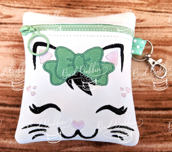 ITH Digital Embroidery Pattern for Pretty Kitty Face Cash / Card Tall 4.5X5 Zipper Pouch, 5X7 Hoop
