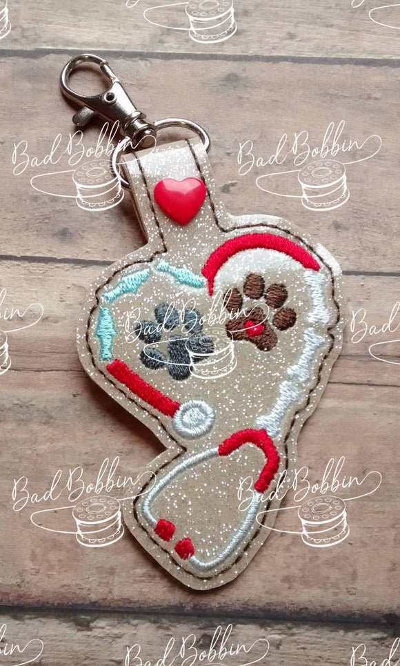 ITH Digital Embroidery Pattern For Animal Stethoscope Snap Tab / Key Chain, 4X4 Hoop