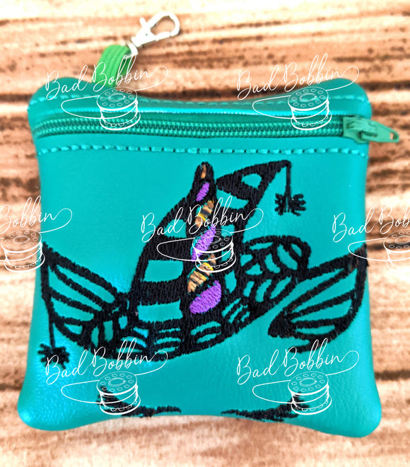 ITH Digital Embroidery Pattern for Halloween Unicorn Witch II 4X4 Zipper Pouch, 4X4 Hoop