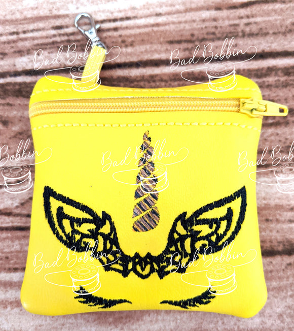 ITH Digital Embroidery Pattern for Halloween Unicorn Bat 4X4 Zipper Pouch, 4X4 Hoop