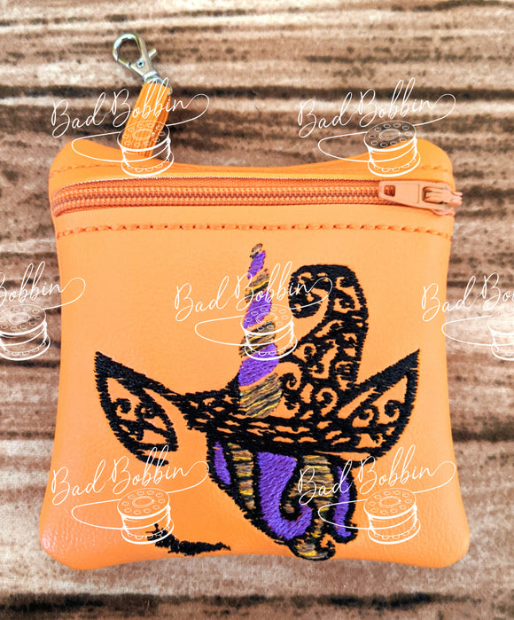 ITH Digital Embroidery Pattern for Halloween Unicorn Witch I 4X4 ZIpper Pouch, 4X4 Hoop