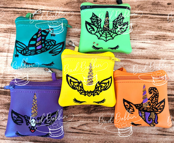 ITH Digital Embroidery Pattern for Set of 5 Halloween Unicorn 4X4 Zipper Pouches, 4X4 Hoop