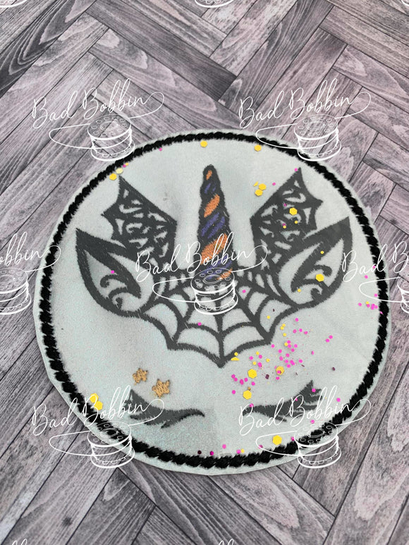 ITH Digital Embroidery Pattern for Halloween Unicorn Web Design, 4X4 Hoop