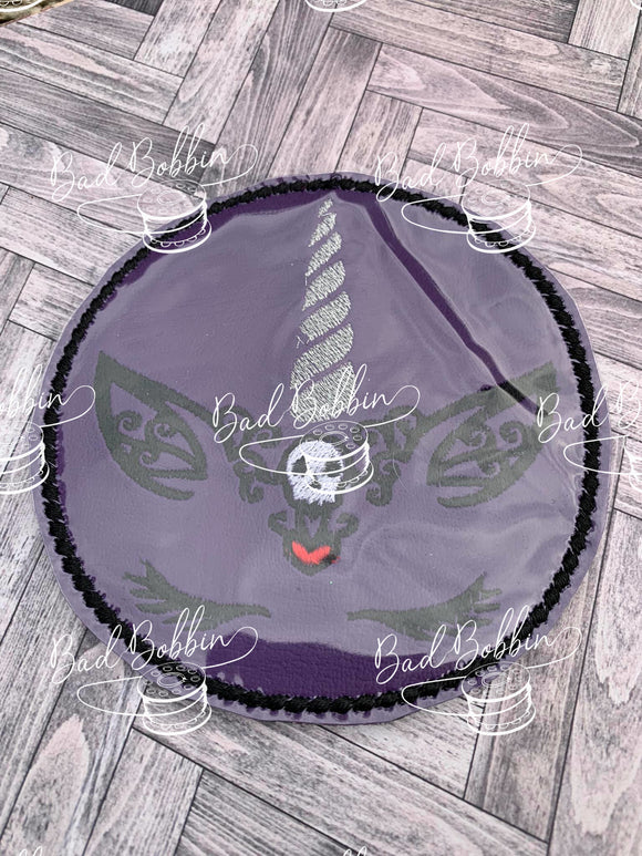 ITH Digital Embroidery Pattern for Halloween Unicorn Skull Design, 4X4 Hoop