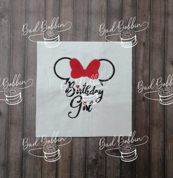 ITH Digital Embroidery Pattern for Ms Mouse Birthday Girl 4X4 Design, 4X4 Hoop