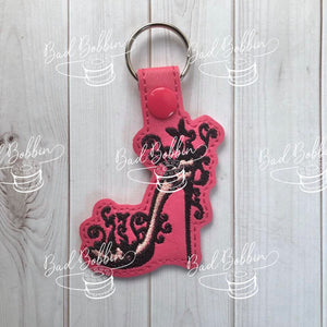 ITH Digital Embroidery Pattern for Filigree Butterfly Shoe Snap Tab / Key Chain, 4X4 Hoop