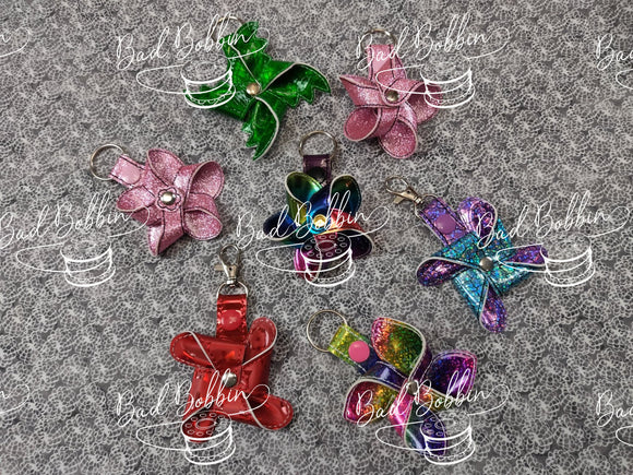 ITH Digital Embroidery Pattern for 3D Pinwheel Snap Tab Set of 4, 4X4 Hoop