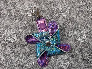 ITH Digital Embroidery Pattern for 3D Pinwheel 4 Point I Snap Tab / Key Chain, 4X4 Hoop