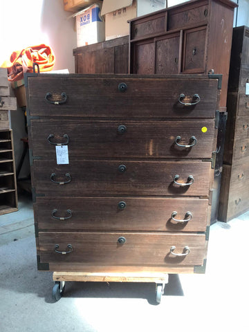 Japanese five drawer paulownia chest
