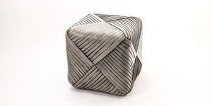 Contemporary Iron framed bamboo cube stool grey - JF18004