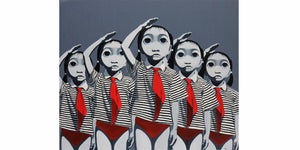Zai Hong woodblock print - Repeated girl figures with red, black and white stripes