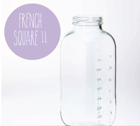 1 Litre Dairy French Sqare bottle