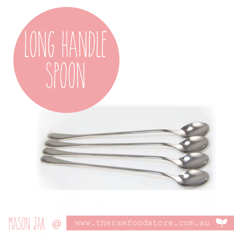 Long handle stainless steel spoon - single @theRawFoodSTore