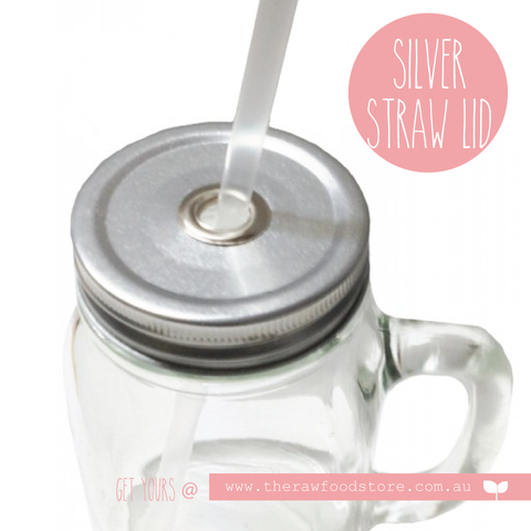 Staineless Steel - Silver Lid with hole for Regular Mouth Jars
